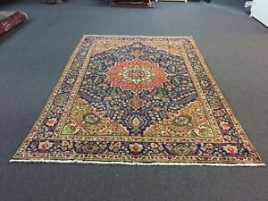 On Sale Semi Antique Hand Knotted Ppersian Floral Rug Navy Carpet 6 8x9 11 2747