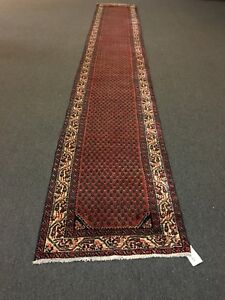 Sale Antique Hand Knotted Persian Rug Hamadan Geometric Runner Carpet 2 9 X18 2