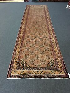 S Antique Hand Knotted Malayer Persian Geometric Rug Runner 3x13 3 7 X13 2