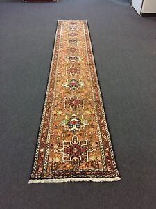 Sale Hand Knotted Persian Gharajeh Tabrizz Geometric Rug Runner Carpet 2 4x13 5