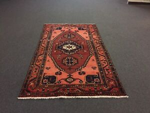 On Sale Semiantique Hand Knotted Persian Hamadan Zanjan Geometric Rug Carpet 4x7