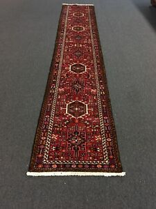 Sale Hand Knotted Persian Gharajeh Tabrizz Geometric Rug Runner Carpet2 4 X13