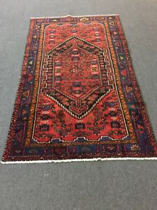 On Sale Hand Knotted Genuine Persian Hamadan Zanjan Geometric Rug Carpet 4x7