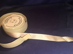 Antique Pale Pinkish Tan Silk Satin Grosgrain Ribbon Original Spool 5 8 X 2 5yd