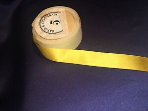 Antique Gold Yellow Silk Satin Grosgrain Ribbon Original Spool 7 8 X 177
