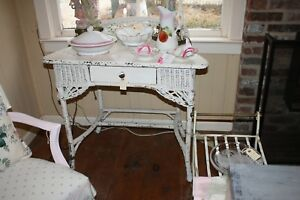 Antique Wicker Vanity Desk Accent Table Foyer Original White Chippy Paint Chic