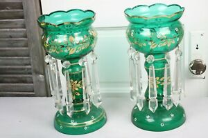 Luster Mantel Lamp Set Green Glass Gold White Accents Long Prisms Antique