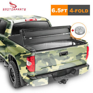 Truck Bed Tonneau Cover Four fold 6 5ft For 2014 2019 Chevy Silverado Sierra gmc