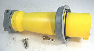 Hubbell Iec Pin And Sleeve Plug Yellow 100 Amps 125 Vac 2 Poles Hbl 3100p4w