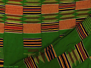Kente Cloth Handwoven Asante Green Ghana African Art