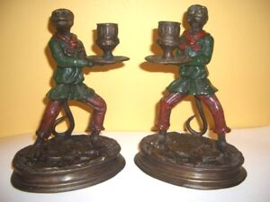 Rare Pair Of 19th Century Cold Painted Bronze Monkey Butler Candlesticks