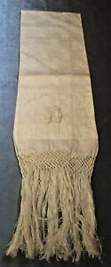 Antique Linen Damask Fringed Show Towel D Monogram Daisy Florals Never Used