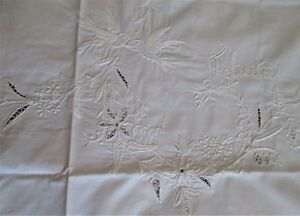 Antique Linen Lay Over Shams Italian Embroidery Felicita Birds Florals Drawnwork