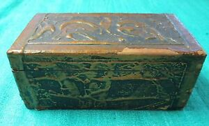 Early Florentine Hand Painted Gilded Trinket Box Bold Handsome