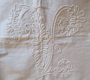 Fabulous Tambour Embroidery Lay Over Pillow Sham Pair V Monograms Trousseau