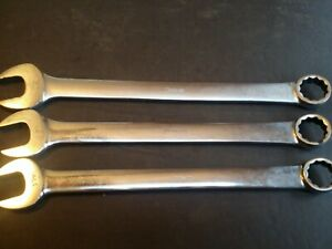 Snap on Tools 3 Pc Large Sizes Combination Wrench Set Box open 1 3 16 To 1 5 16