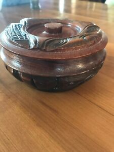 Vintage Handmade Round Wooden Dish With Lid