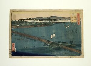 Japanese Woodblock By Hiroshige Evening Glow At Seta From Eight Views Of Omi