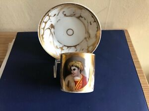 Antique Russian Hand Painted Cup And Saucer Circa 1830