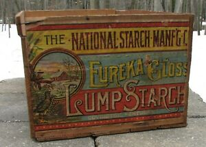 Antique Wood Box W Paper Label National Starch Co Eureka Gloss Covington Ky