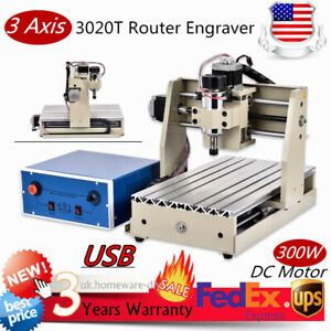 Usb 3 Axis Cnc 3020t Router Engraver Milling Drilling Machine 300w 200 300mm Usa