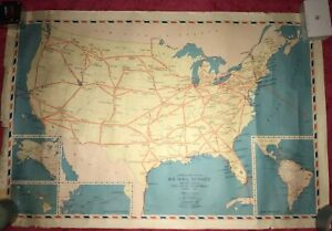 Super Rare 1939 Us Air Mail Map One Of A Kind Collectors Dream