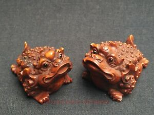 Collectedt China Old Boxwood Hand Carved A Pair Jin Chan Paperweight Decoration