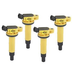 Accel 140333 4 Coil Super Coil Pack Style Socket Yellow Fits Lexus Scion Setof4
