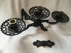 Vintage Victorian Cast Iron Art 3 Arm Oil Lamp Candle Holder Wall Sconce Gvc