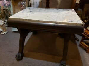 Antique Vintage Marble Wood Claw Foot Table 18 X 23 X 19 Lovely
