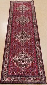 Persian Runner Bijar Tribal Hand Knotted Wool Red Oriental Rug 3 X 10