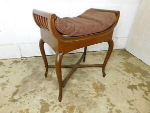 Antique Vintage Queen Anne Legs Bow Sides Vanity Or Window Bench