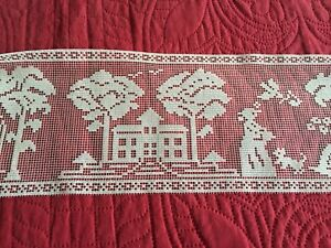 Old Figural Filet Lace Trim With Houses People Dogs Trees 80 By 5