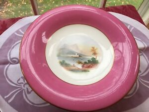 Antique Pink Paris Porcelain Compote Or Cake Stand Hand Painted Scenic