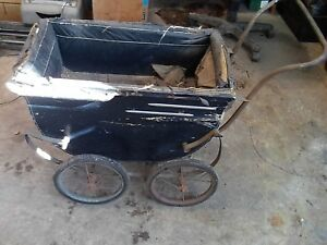 Rare Antique Vintage Baby Doll Buggy Carriage Stroller Wood Leather