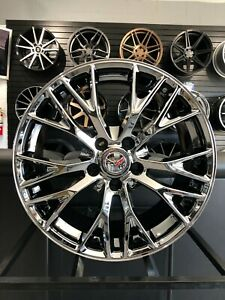New Set Of 19 20 Dark Chrome Z06 Style Wheels Rims For Corvette C7 Stingray