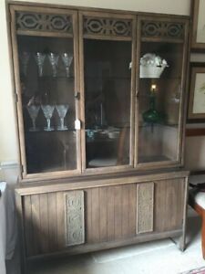 Mid Century Modern China Cabinet Hutch Display By Kroehler 1960s