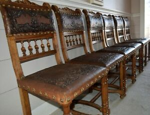 Six Vintage Spanish Revival Embossed Leather Dining Chairs W Decorative Nails