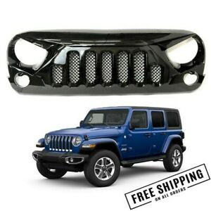 Fits 2007 2017 Jeep Wrangler Jk Skull Style Grille Gloss With Mesh