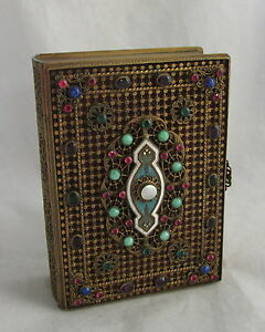 Antique Brass Bronze Jeweled Book Dresser Box Enamel Guilloche