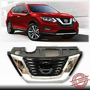 Fits 2017 2018 Nissan Rogue Front Grill Oe Style Chrome Black Grille