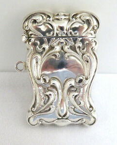 Antique Art Nouveau 925 Sterling Silver Match Safe Vesta Case W Chatelaine Ring