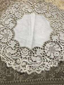 Antique Figural Lace Doily Mythical Creatures Animals Needle Tablecloth Vintage