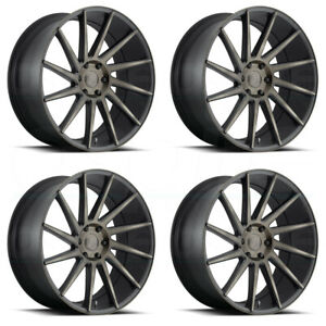 22x9 5 Dub Chedda S128 6x5 5 6x139 7 30 Black Machined Wheels Rims Set 4