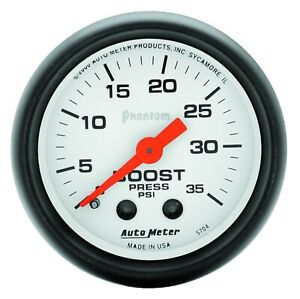 Autometer 5704 Phantom Mechanical Boost Gauge White Red Pointer 0 30 Psi