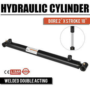 Hydraulic Cylinder 2 Bore 18 Stroke Double Acting 3000psi Excellent Steel