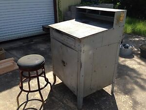 Vintage Steel Industrial Shop Foreman s Desk Old School