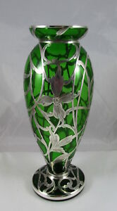 Art Nouveau Emerald Green Glass Vase Engraved Floral Sterling Silver Overlay