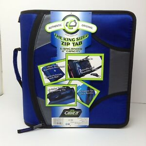 New Case it Xl 3 Ring D ring 4 Inch Zipper Binder Blue With 5 tab File Folder