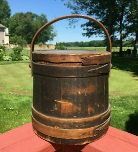 Antique 19th C Firkin 1800s Primitive Wooden Pantry Box Shaker Sugar Pail Bucket